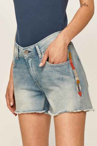 Pepe Jeans - Rifľové krátke nohavice Thrasher Rainbow dámské modrá 26