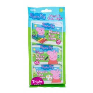 Peppa Pig Peppa Hand & Face Wipes 30 ks čistiace obrúsky pre deti na veľmi suchú pleť 30 ks