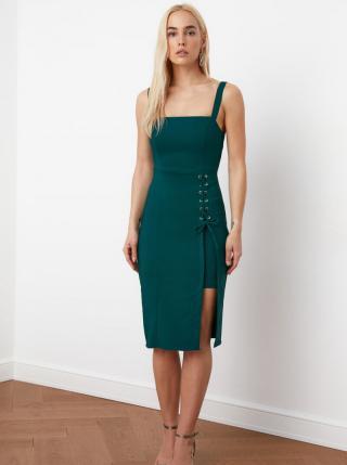 Petrolejové púzdrové šaty so zaväzovaním Trendyol dámské petrolejová S