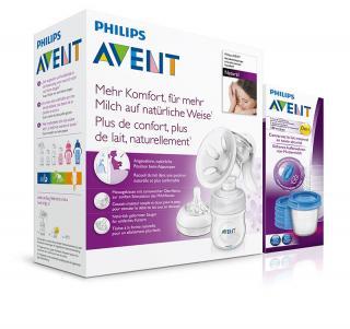 Philips AVENT Odsávačka materského mlieka Natural so zásobníkom 125 ml   VIA 180 ml 5 ks biela
