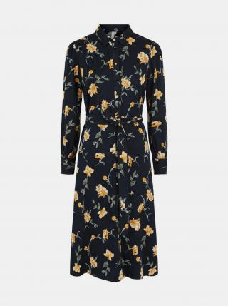 Pieces čierne midi košeľové šaty - XL dámské čierna XL