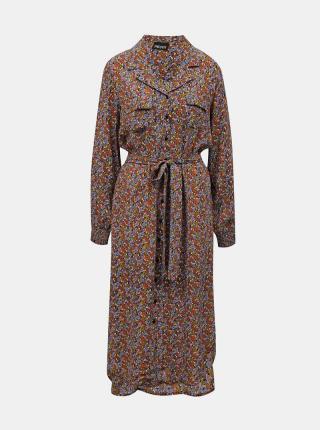 Pieces hnedé midi košeľové šaty - XS dámské hnedá XS