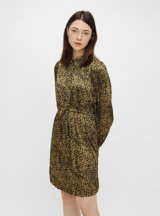 Pieces khaki košeľové šaty so vzormi - XL dámské XL