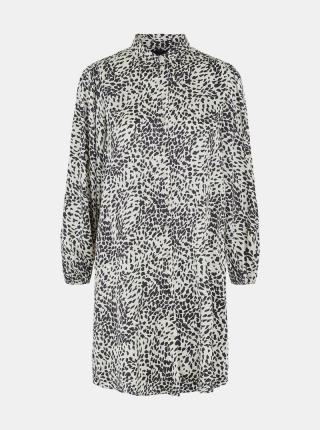 Pieces smotanové/krémové košeľové šaty so vzormi - XL dámské smotanová XL