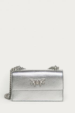 Pinko - Kožená kabelka dámské strieborná ONE SIZE