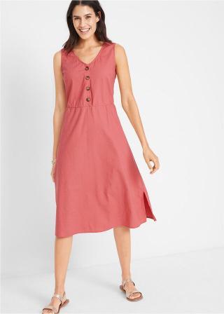 Plátené šaty s gombičkovou légou dámské ružová 34,36,38,40,42,44,46,48,50