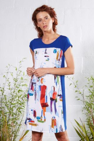 Plážové šaty Lady Belty 21V-1012V-61 - barva:BELUNICO/potisk, velikost:XL dámské XL