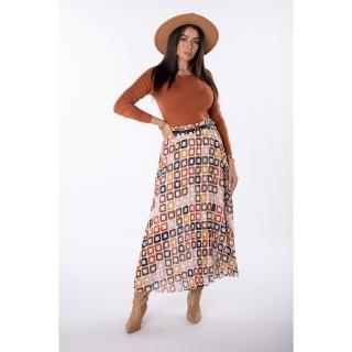 Pleated skirt with a contrasting pattern dámské Other One size