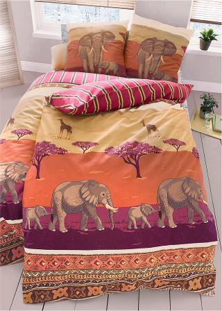 Posteľná bielizeň so slonmi červená 1x 80/80cm, 1x 135/200cm,2x 80/80cm, 2x 135/200cm