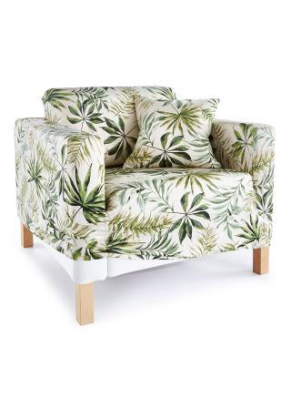 Poťah na pohovku s tropickými listami biela Kreslo 80-100 cm,2-sedačková pohovka 160 cm,3-sedačková pohovka 200 cm,2ks v balení vankúš 40 cm