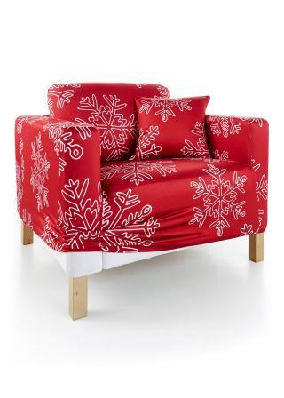 Poťah so snehovými vločkami červená Kreslo 80-100 cm,2-sedačková pohovka,3-sedačková pohovka,2-dielne balenie obliečok na vankúše 40 cm