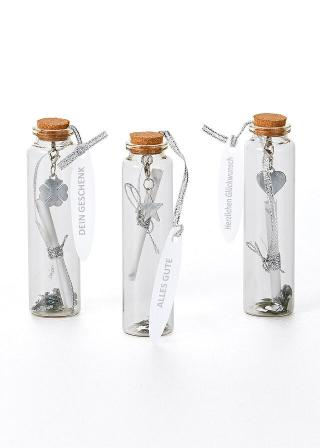 Poukážkové fľaštičky, 3 ks biela
