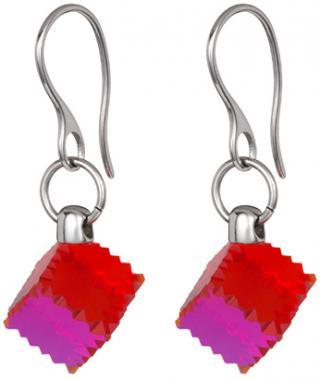 Preciosa Oceľové náušnice s červeným kryštálom Jaclyn 7263 57