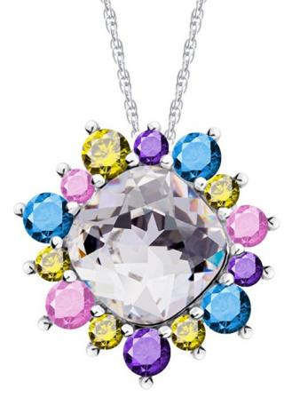 Preciosa Pestrofarebný náhrdelník Flower 5240 70