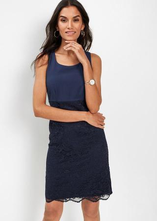 Premium púzdrové šaty s čipkou dámské modrá 36,38,40,42,44,46,48,50,52,54