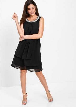 Premium šaty s aplikáciami dámské čierna 36,38,40,42,44,46,48,50,52,54
