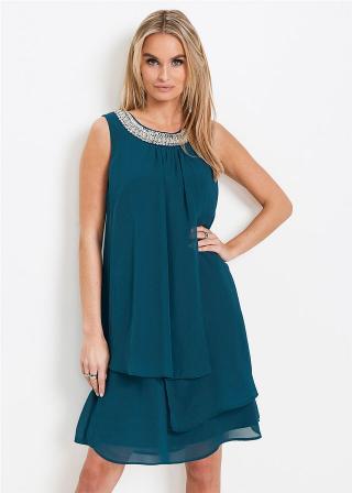 Premium šaty s aplikáciami dámské modrá 36,38,40,42,44,46,48,50,52,54