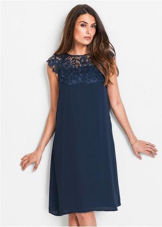 Premium Šifónové šaty s čipkou dámské modrá 36,38,40,42,44,46,48,50,52,54