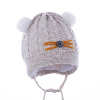PUPILL Čiapka zimná Emanuel beige/gray veľ. 38-40