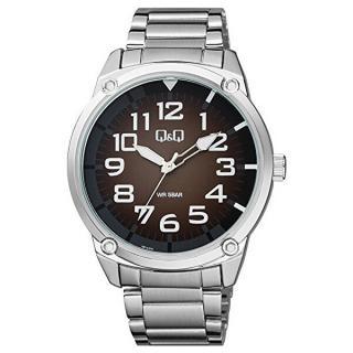 Q & Q Analogové hodinky QB10J205 pánské strieborná