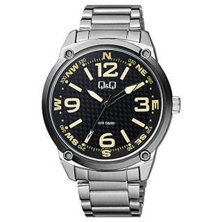 Q & Q Analogové hodinky QB10J415 pánské strieborná