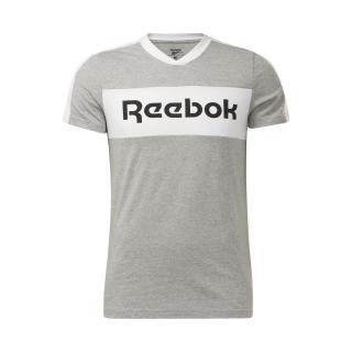 REEBOK Funkčné tričko Training Essentials Linear Logo Graphic  sivá / biela / čierna pánské M