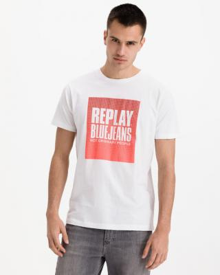 Replay Blue Jeans Tričko Biela pánské 3XL