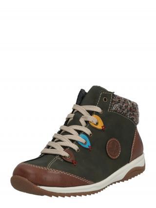 RIEKER Šnurovacie topánky  kaki / hnedá / zmiešané farby dámské 42