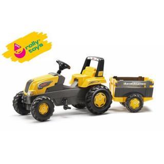 Rolly Toys šliapací traktor Rolly Junior s Farm vlečkou, žltý
