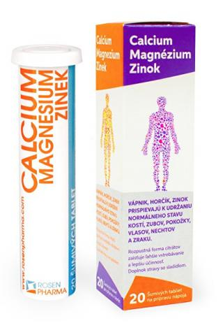 Rosenpharma Rosen Calcium Magnesium Zinok 20 šumivých tabliet