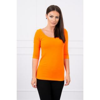 Round neckline blouse orange neon dámské Neurčeno One size