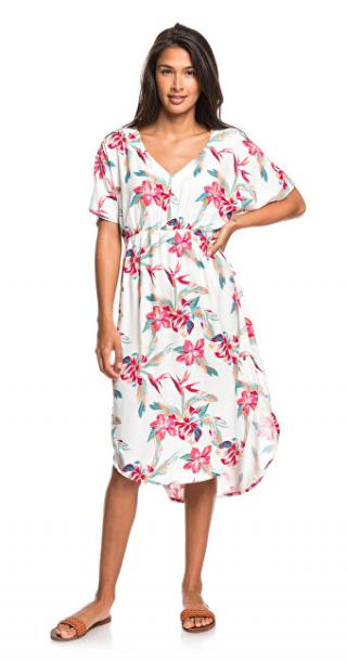 Roxy Dámske šaty Flamingo S hades Snow White Tropic Call ERJWD03428-WBK7 M dámské