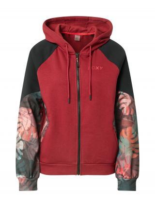 ROXY Športová mikina so zipsom CLAP YOUR HANDS  červená / čierna / zmiešané farby dámské XS