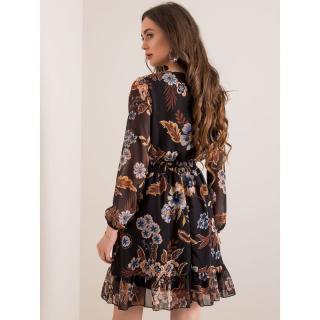 RUE PARIS Black dress with a floral print dámské Neurčeno 38