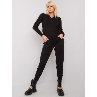 RUE PARIS Black knitted set with braids dámské Other One size
