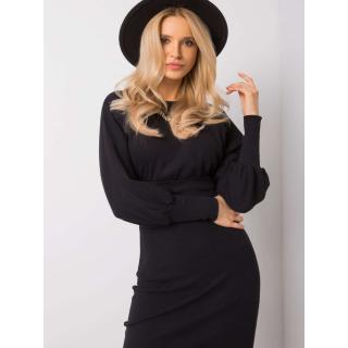 RUE PARIS Black striped dress dámské Neurčeno S