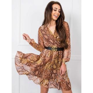 RUE PARIS Brown patterned dress with a frill dámské Neurčeno 38
