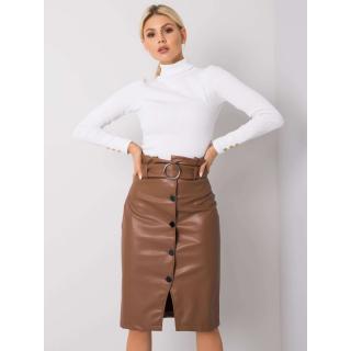 RUE PARIS Brown skirt with a belt dámské Neurčeno S