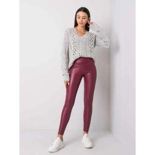 RUE PARIS Burgundy faux leather leggings dámské šedá | tmavočervená L