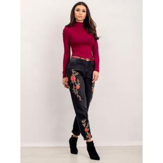 RUE PARIS burgundy turtleneck blouse dámské čierna | tmavočervená S