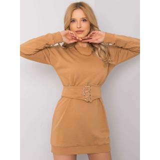 RUE PARIS Camel sweatshirt dress dámské Neurčeno S
