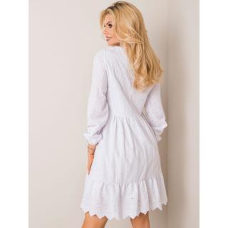 RUE PARIS White embroidered dress with a frill dámské Neurčeno S