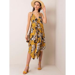 RUE PARIS Yellow and black asymmetrical dress dámské Neurčeno S