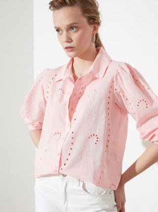 Ružová dámska voľná košeľa s madeirou Trendyol dámské M