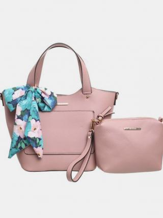 Ružová kabelka s púzdrom a ozdobnou šatkou Bessie London dámské