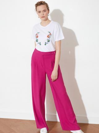 Ružové dámske široké nohavice Trendyol dámské ružová L