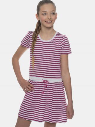 Ružové dievčenské pruhované šaty SAM 73 fialová 152-158