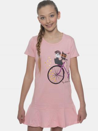 Rúžové dievčenské šaty s potlačou SAM 73 ružová 164