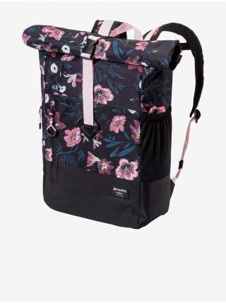 Ružovo-čierny dámsky kvetovaný batoh Meatfly Holler dámské čierna