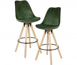 Sada 2 barových židlí Bahira Green Zelená